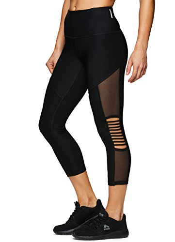 Cool Mesh Capri - RBX Active Women's Strappy Mesh Capri Leggings Strap Black M