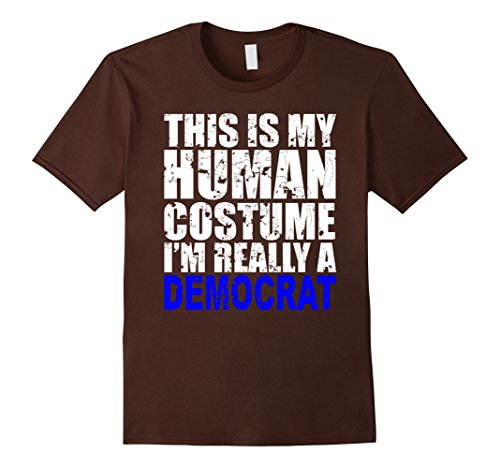 Political Themed Costumes (Mens This Is My Human Costume Shirt I'm Really A Democrat Small Brown)