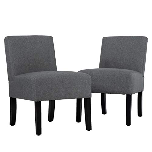 Living Room Chairs Upholstered Accent Chair, Sofa Club Side Chair Fabric Armless Chair Set of 2 (Small Club Chairs Upholstered)