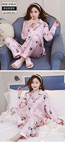 Dos De Mujer Piezas Pijama Serie Servicio A Xl Punto M Pijamas Primavera Camisón Baujuxing Manga Domicilio Otoño Chaqueta Seda Pantalones Y Hielo Larga 7tq5qfw