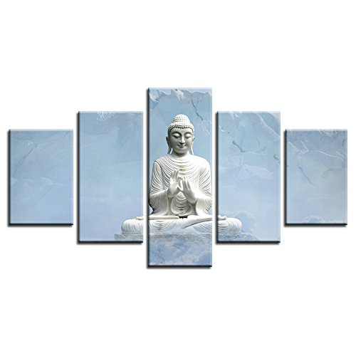 CrmArt - Buddha Statue in the Mountains 5 Panels Giclee Canvas Prints Wall Art Landscape Pictures Photo Paintings for Bedroom Home Decorations Modern Stretched and Framed Grace Artwork - 20' Buddha Statue