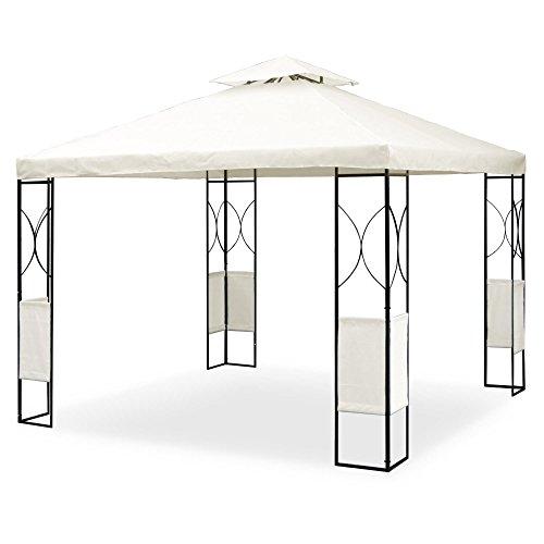 Metall Pavillon 3 x 3 m mit Ornamenten, schwarz pulverbeschichtet, Dach in Cremeton, Polyester 160 G, mit Lüftungsdach