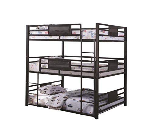 Bedz King Bunk Beds Twin over Twin Mission Style with End Ladder, Gray