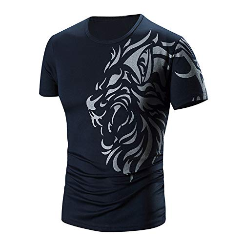 PASATO Men Summer Round Neck Tee Printing Men's Short-sleeved T-shirt Top Blouse(Navy,XXL=US:XL) by PASATO Blouse For Men (Image #4)
