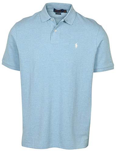 (Polo Ralph Lauren Mens Classic Mesh Polo Shirt (L, Soft Blue Heather))