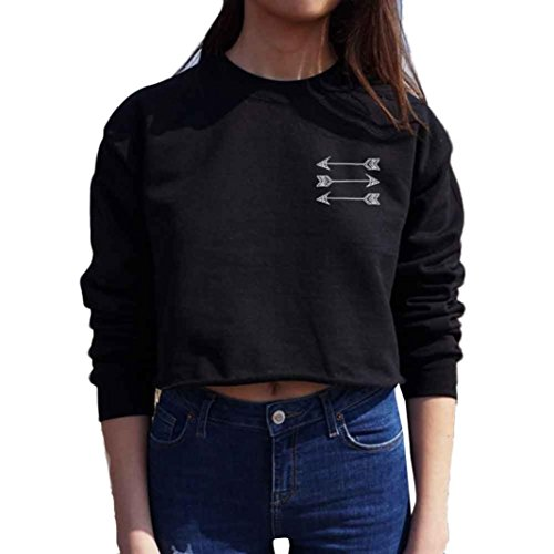 Perman Women Short Pullover Round Neck Long Sleeve Crop Tops Sweater Blouse (XL, Black)