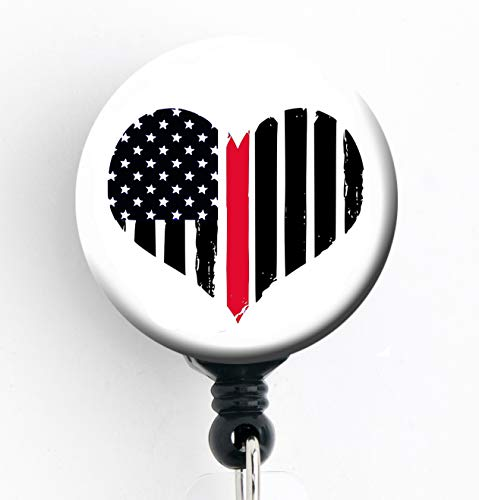 Heart Thin Red Line Flag - Veteran Military - Retractable Badge Reel with Swivel Clip and Extra-Long 34 inch Cord - Badge Holder - -