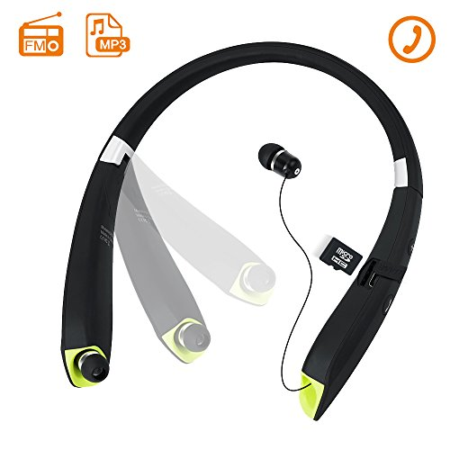 Toughsty Retractable Wireless Stereo Bluetooth Neckband Earbuds for Running Sports MP3 Music Player Earphone with FM Radio and Mic (MT-HSET011)
