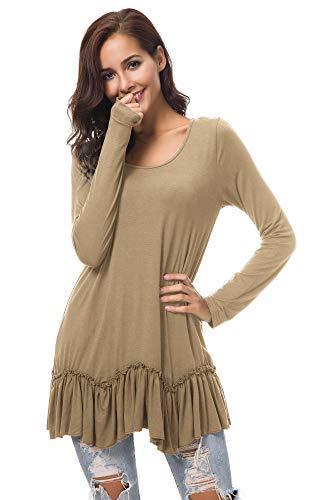 Urban CoCo Women's Casual T-Shirt Solid Long Sleeve Tunic Tops (L, Khaki)