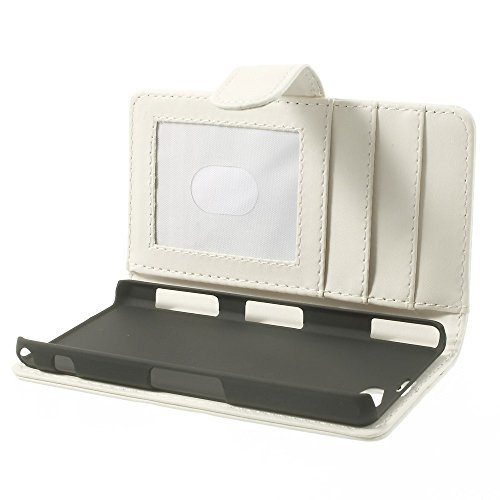 JUJEO Wallet Leather Case Shell with Stand for Sony Xperia Z1 Compact D5503 - Non-Retail Packaging - White