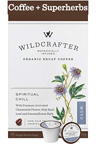 Wildcrafter Botanicals Organic Decaf Coffee Pods – Stress & Anxiety Relief with Holy Basil Leaf, Chamomile…
