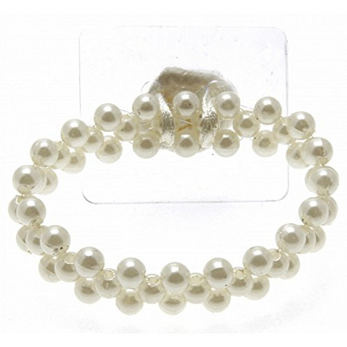 Corsage Creations - Special Day Cream Corsage Bracelet (Pack of 4, 7cm diameter)