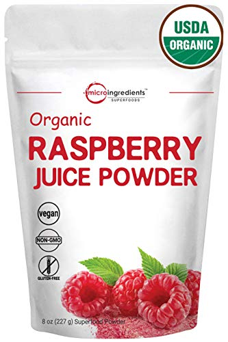 Organic Raspberry Juice Powder, 8 Ounce, Rich in Vitamins, Essential Amino Acids, Fatty Acids, Minerals and Antioxidant, Best Natural Flavor for Smoothie and Drinks, Non-GMO and Vegan Friendly