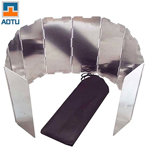 10 Plates Foldable Aluminium Alloy Outdoor Camping Cooking Cooker Gas Stove Wind Shield Screen + Protecting Bag