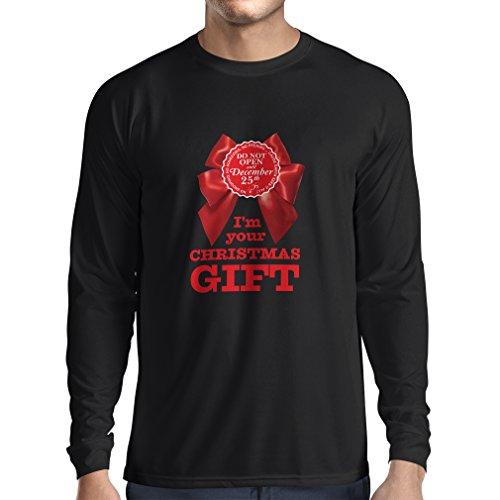 Long Sleeve t Shirt Men Ideas from Santa, Xmas Holiday Outfits (Large Black Multi -