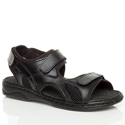 Ajvani Mens Sandales À Bande Velcro Plat Taille Noir