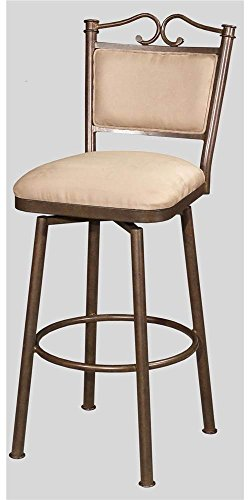 Chintaly Imports 0707 Memory Return Swivel Counter Stool, 26-Inch, Autumn Rust/Taupe Suede