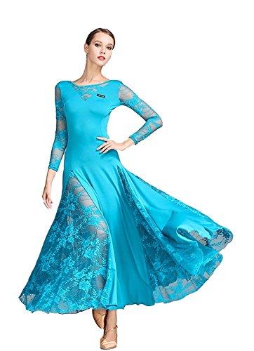 TALENT PRO Lace Modern Dance Waltz National Standard Tango Ballroom Skirt One Piece Costume (Dress Waltz Dance)