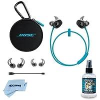 Bose SoundSport Wireless Headphones - Aqua - Bundle With Hosa Goby Labs Headphone Cleaner, 4 fl oz, Microfiber Cleaning Cloth