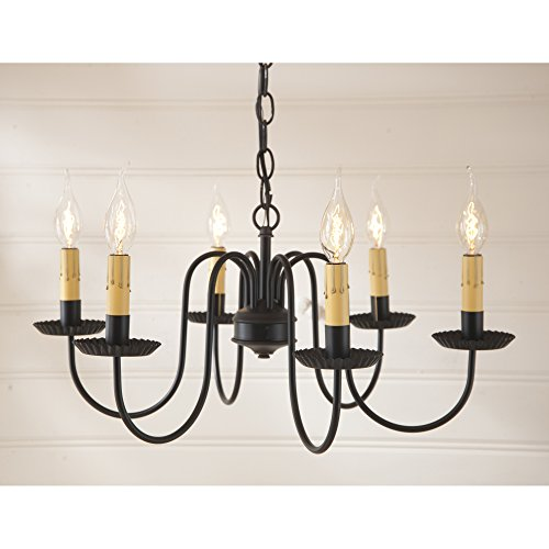Irvin's Country Tinware Sheraton Six Arm Chandelier in Black