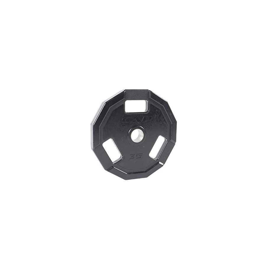 CAP Barbell Olympic 2 Inch 3 Grip Rubber Plate, Single