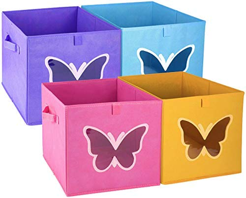 Homyfort 12x12 Cube Storage Bins Organizer for Kids, Foldable Basket Collapsible Container Drawers with Clear Window for Closet, Bedroom, Toys,Set of 4 Colored Butterfly by Homyfort