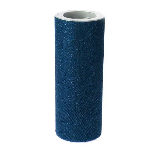 Homeford Firefly Imports Glitter Tulle Spool Roll, 6-Inch, 10 Yards, Navy Blue,