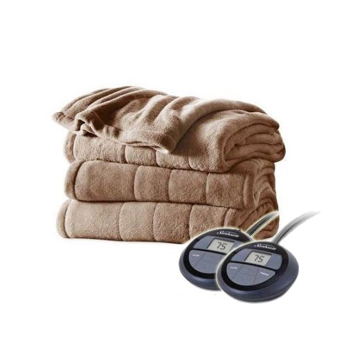 Sunbeam Channeled Velvet Plush Electric Heated Blanket King Size Seashell
