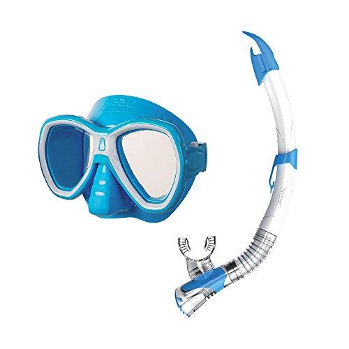 SEAC Elba Dry Premium Junior Kids Scuba Diving Swimming Snorkeling 100% Pure Silicone Mask Snorkel Set MD S/AZ Light Blue, Light Blue