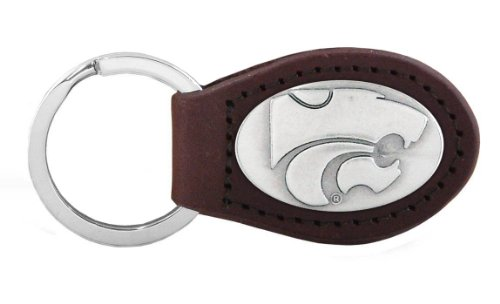NCAA Kansas State Wildcats Zep-Pro  Leather Concho Key Fob, Brown