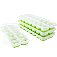 VicTsing Ice Cube Trays 4 Pack, 【Easy Release Silicone】Flexible 14-Ice Trays with Spill-Resistant Removable Lid, Food Freezer Storage Trays, LFGB Certified & BPA Free,Durable and Dishwasher Safe