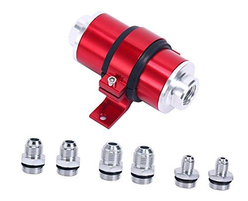 8milelake 30 Micron for AN6 AN8 AN10 Aluminum Inline Fuel/Gas/Petrol Filter+Bracket Cleanable - Oil Filter Bracket