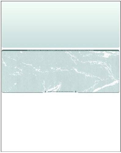 Business Voucher Check Stock - Versacheck Refills - 2500 Sheets, Check in Middle, Green Marble