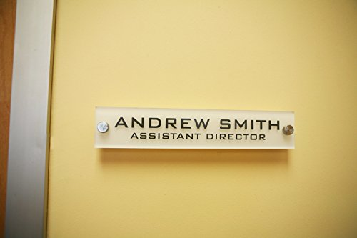 (Personalized Office Wall Name Plate Sign. Modern Stainless Steel Legs (Frosted White))