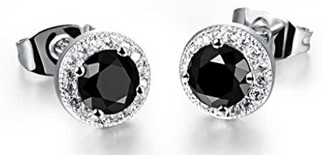 Anazoz Fashion Jewelry Titanium Steel Earrings Round Shape Cubic Zirconia For Women's Earrings