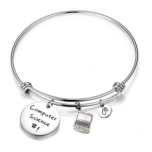 FEELMEM Computer Science Bracelet Laptop Mouse Charm Bangle Bracelet Computer Programmer Jewelry Coding Jewelry Gift for Software Engineer Student (Silver)