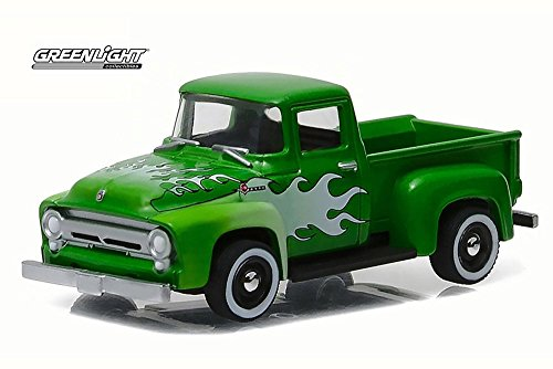 1956 Ford F-100 Pick-Up Truck, Green w/ White Flames - Greenlight 96170B - 1/64 Scale Diecast Model Toy Car