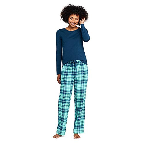 nit Flannel Pajama Set, S, Washed Aqua/Evening Bay Plaid ()