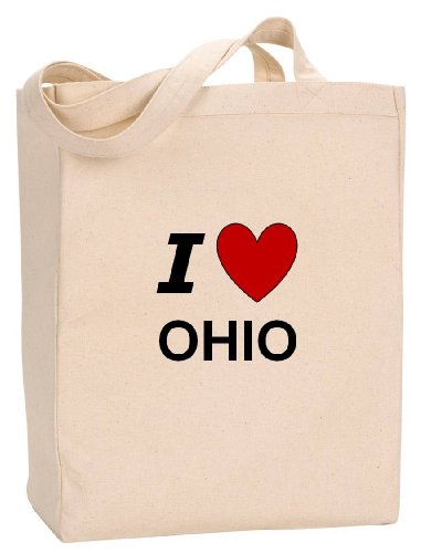 I LOVE OHIO - State Series - Natural Canvas Tote Bag with Gusset ()