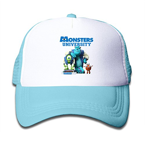 [Kids Monsters University 100% Nylon Mesh Caps One Size Fits Most Adjustable Cute Mesh Hat SkyBlue] (Monsters University Hat)