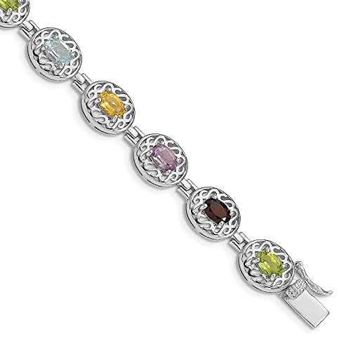 925 Sterling Silver 6.5inch Multicolored Gemstone Bracelet 6.5 Inch Fine Jewelry Gifts For Women For Her - Multi Colored Sapphire Flower