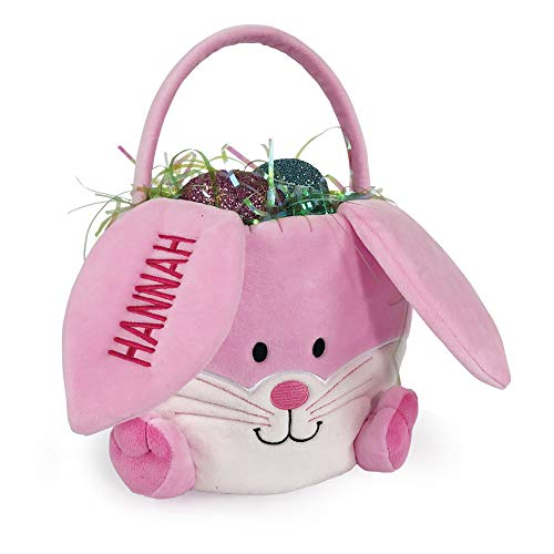 (GiftsForYouNow Embroidered Plush Pink Bunny Personalized Easter Basket, 10