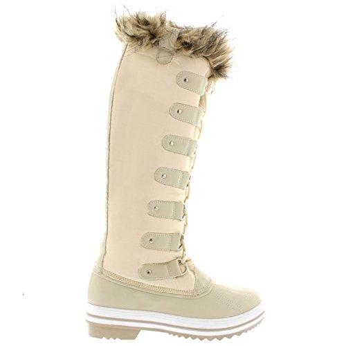 Frauen schnüren sich Gummisohle Kniehohe Winter Schnee Regen Schuh Stiefel Beige Nylon