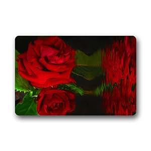 CozyBath rosa flores tela no tejida 23,6(L) X 15,7(W) máquina para uso en interior/exterior/ducha/baño Felpudo