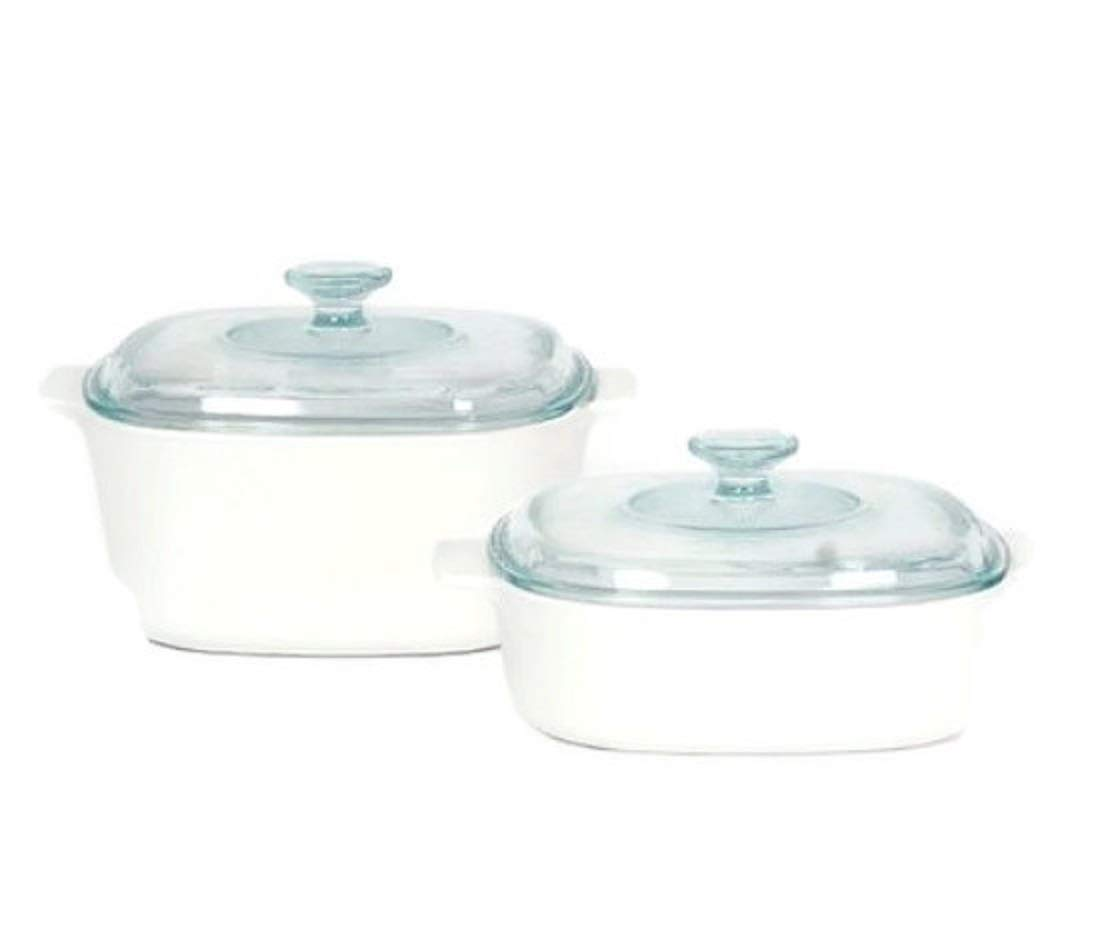 Corningware StoveTop Pyroceram Just White Casserole Sets (Four Piece)