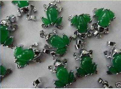 FidgetKute Wholesale 10PC Beautiful Green Jade Frog Necklace Pendant+Free Chain