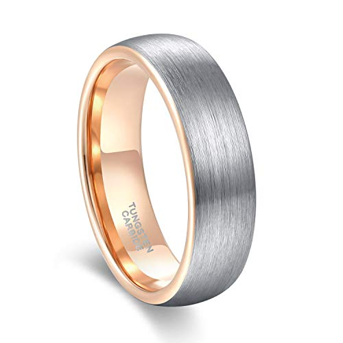 Two Ring Rose Tone (GREENPOD 6mm Rose Gold Wedding Bands for Men Women Two Tone Brushed Tungsten Carbide Ring Comfort Fit Size 8)