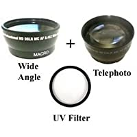 Wide Lens + Tele + UV for Panasonic PV-GS35, Panasonic PV-GS36 PV-GS39, Panasonic PV-GS59 VDR-D100