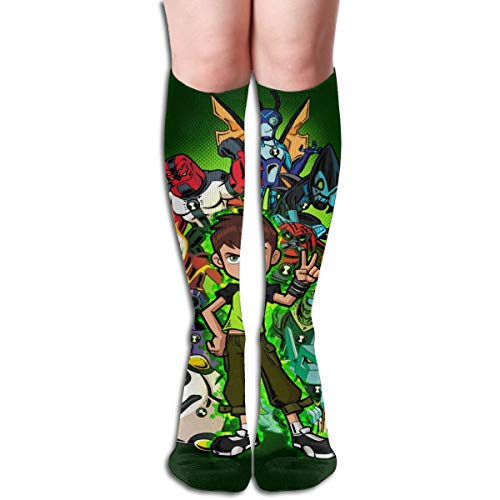 VIXXLH Mens Women's High Knee Stockings Reboot Green Ben-10 Original Design Boy Girl Soft Sock Novelty Xmas Unisex Adult Long Socks -
