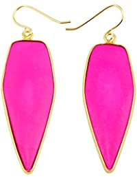 Crystal Stone Dangle Hook Earrings Oval Gold Plated